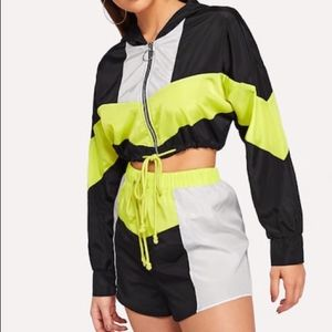 Colorblock Hooded Jacket and Shorts Set
